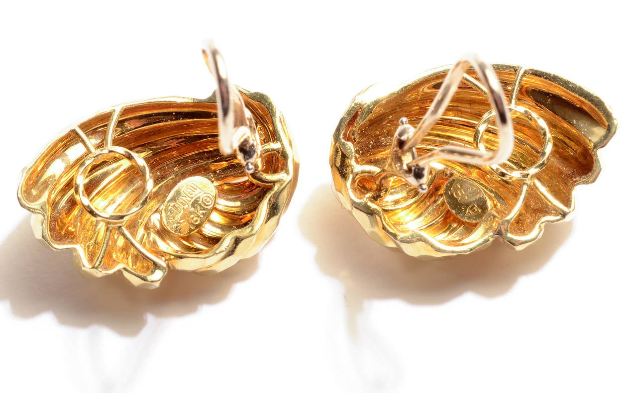 Henry Dunay Hammered Gold Earrings 3