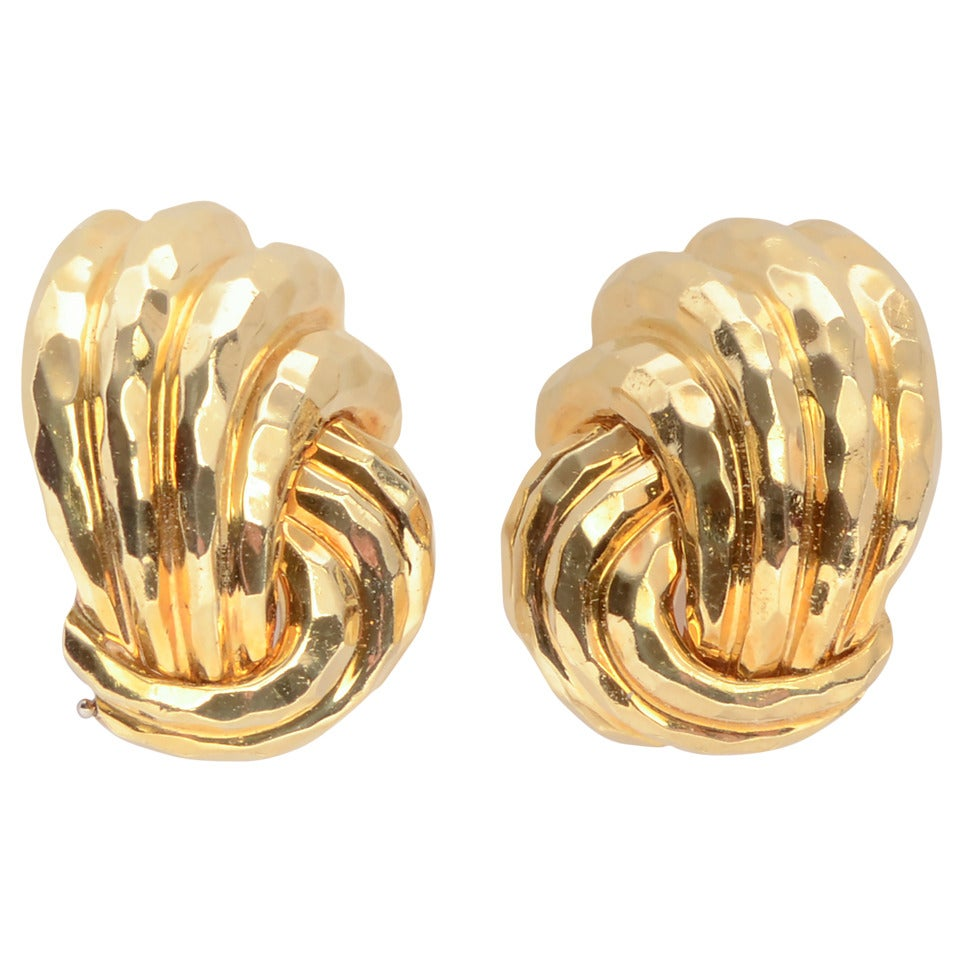 Henry Dunay Hammered Gold Earrings 1