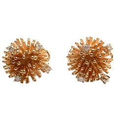 Diamond Gold Sea Urchin Earrings