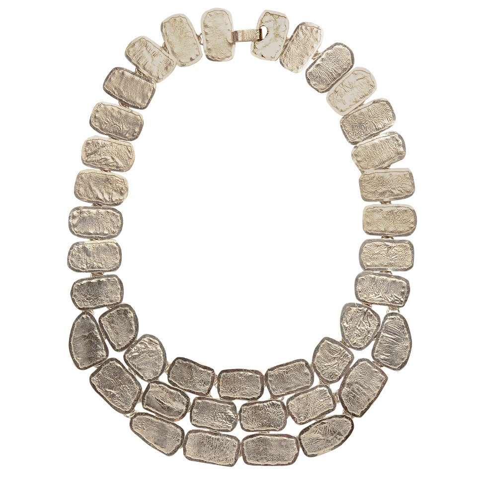 Mexican Textured Sterling Silver Pebble Necklace at 1stdibs