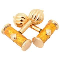 Schlumberger Enamel Gold Cufflinks