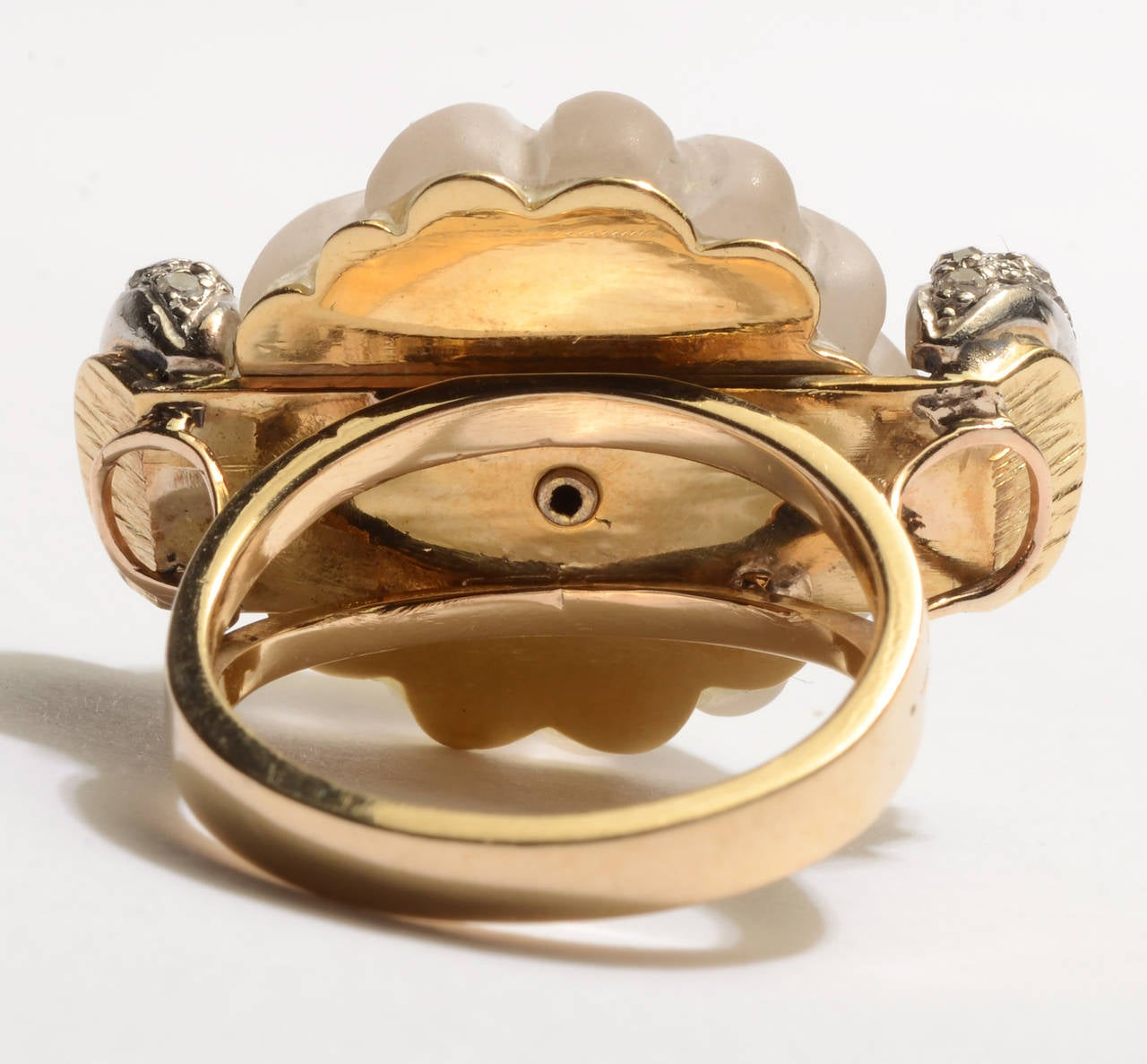 carved rock diamonds gold cocktail ring for sale
