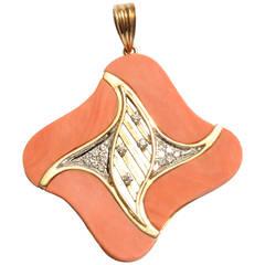 Coral Diamonds Gold Pendant