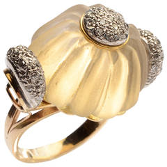 Carved Rock Crystal Diamonds Gold Cocktail Ring