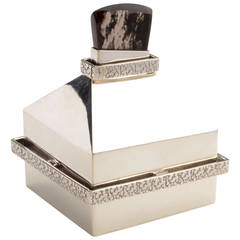 Silver Box with Volcanic Glass Ring