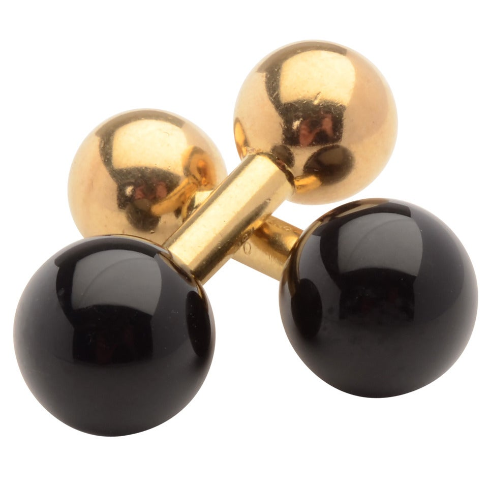 Tiffany & Co. Onyx Gold Barbell Cufflinks For Sale