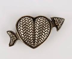 Kieselstein Cord Sterling Silver Heart Belt Buckle