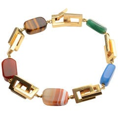 Gold Rectangles Bracelet with Semiprecious Stones