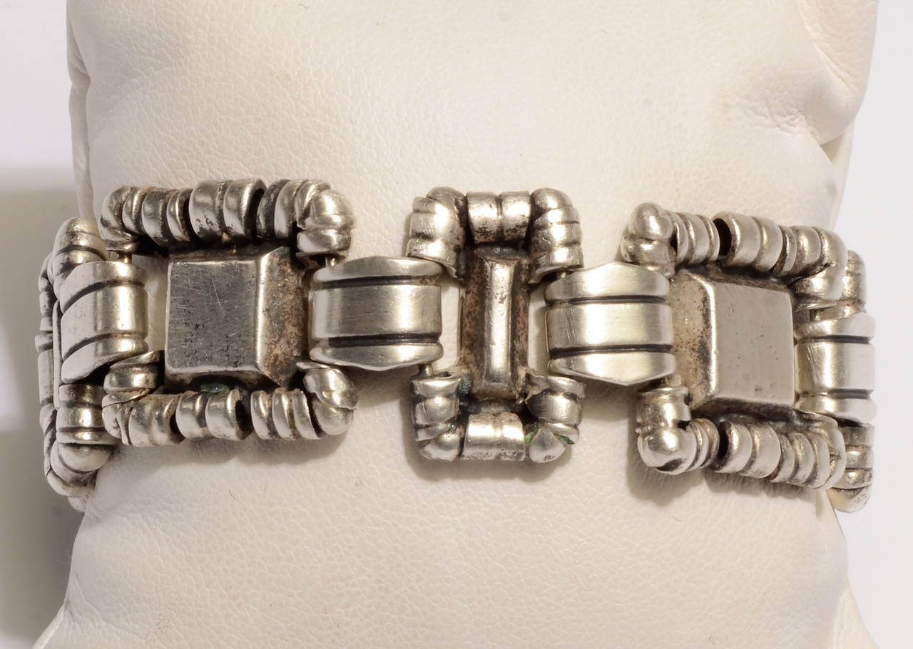 This ornamented squares bracelet by silver master William Spratling is not often seen.