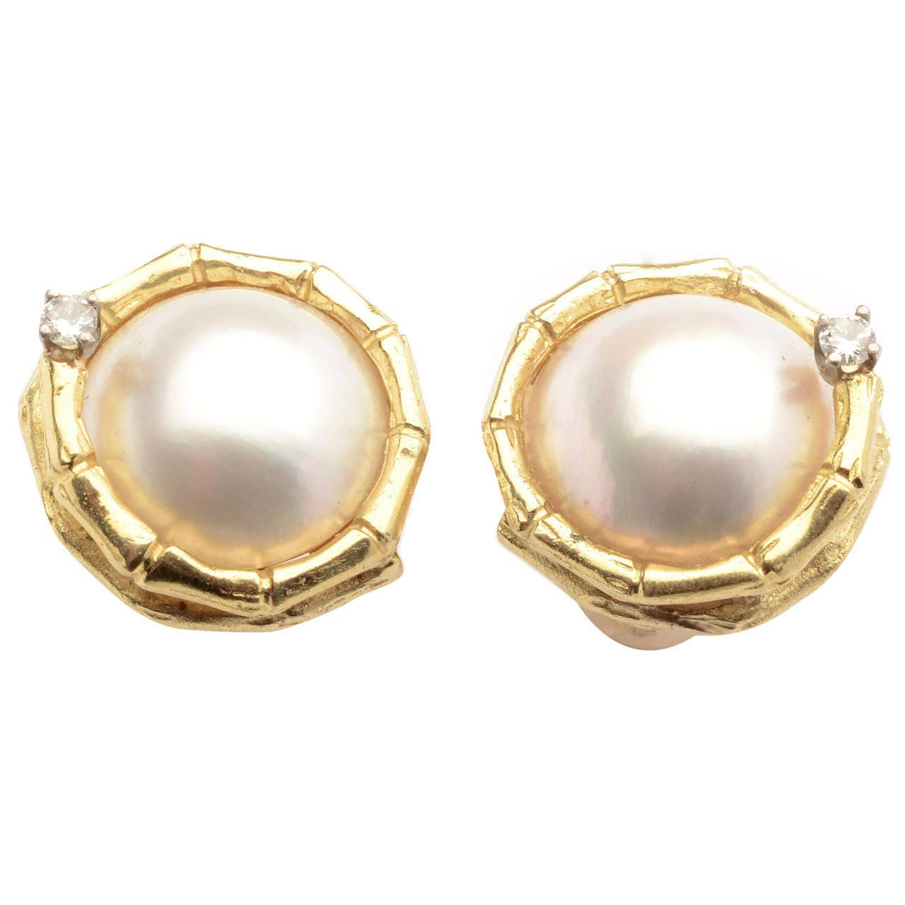mabe pearl gold earrings at 1stdibs