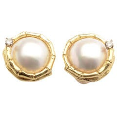 Mabe Pearl Diamond Gold Earrings