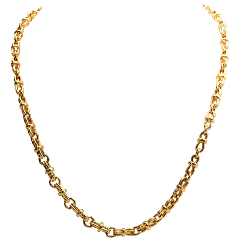 Long Gold Heavy Chain Necklace At 1stdibs