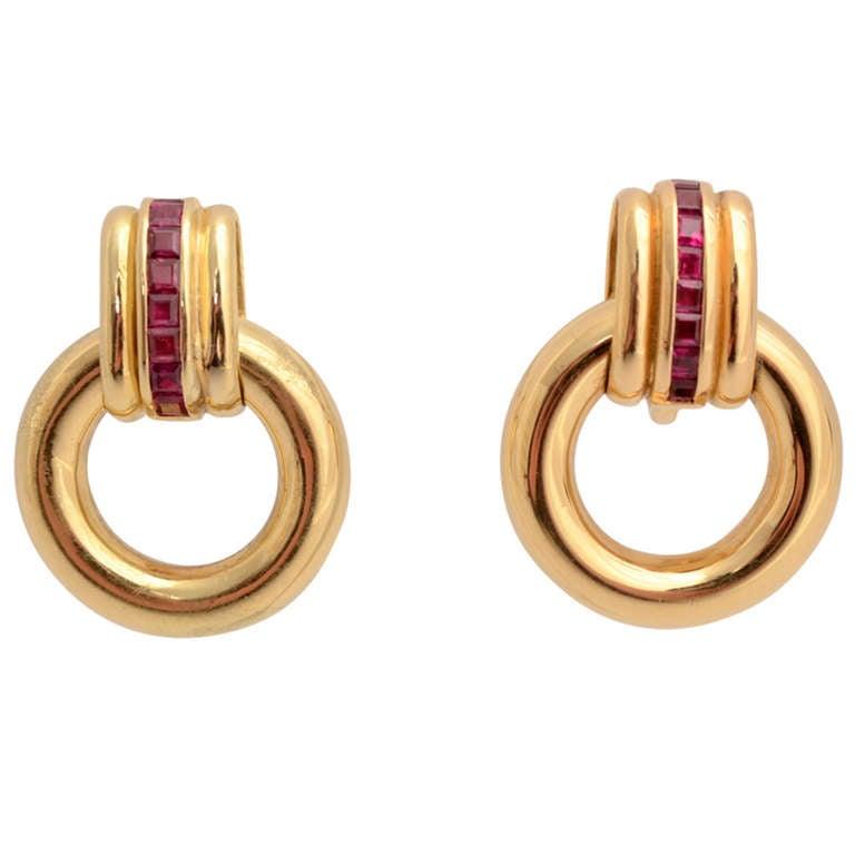 Faraone Gold and Ruby Hoop Earrings