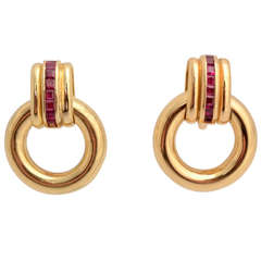 Faraone Gold and Ruby Hoop Earrings