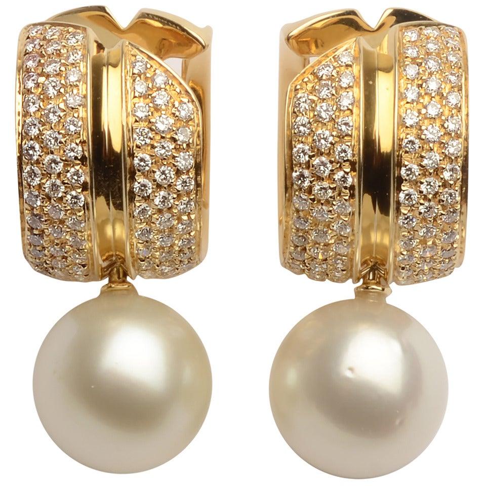 Antonini Pearl Diamond Gold Earrings at 1stdibs