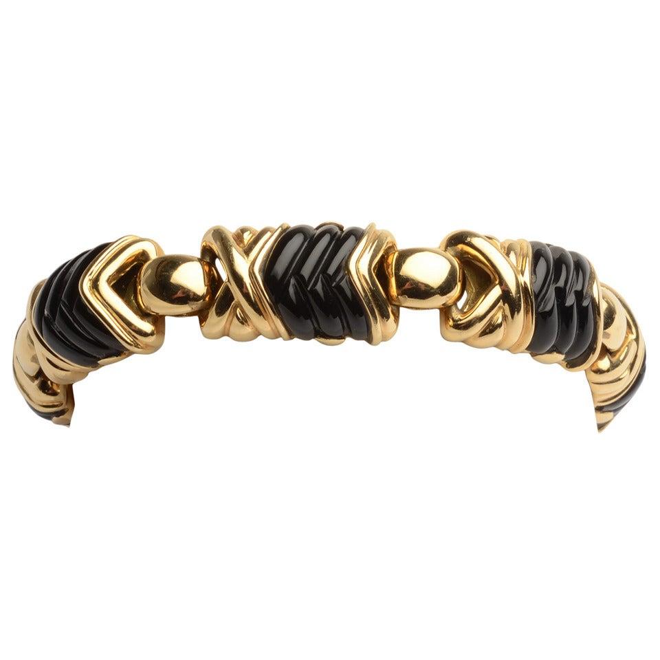 Carved Black Onyx Gold Bracelet