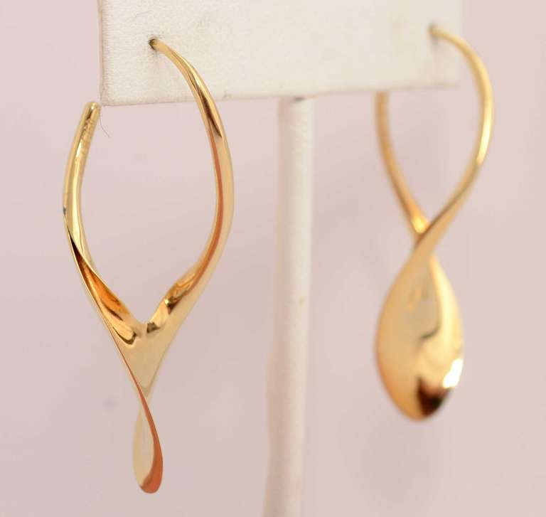 Wishbone Shaped 18 Karat Gold Earrings By American Goldsmith Michael Good Is Known