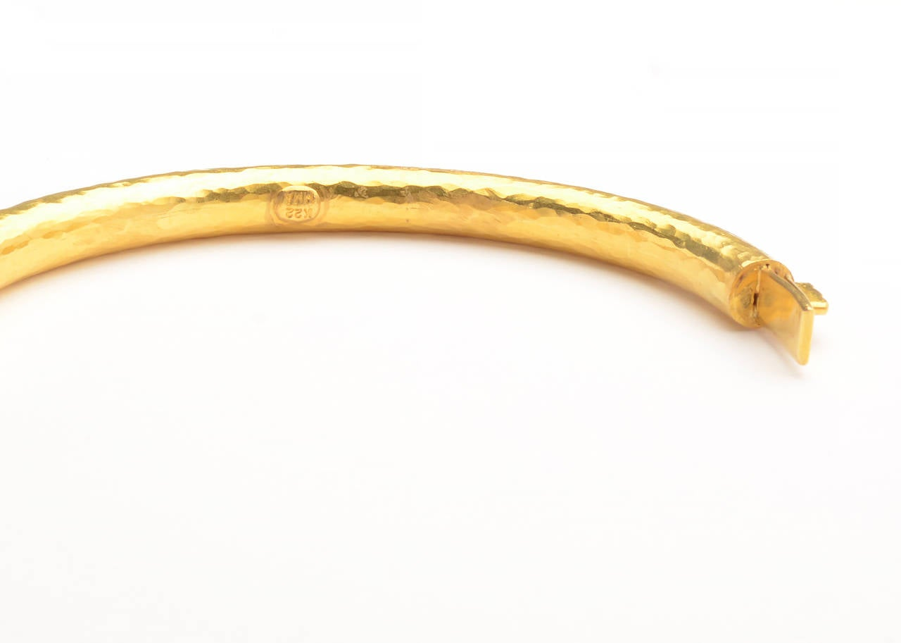 Hammered Gold Bangle Bracelet with Hinge 4