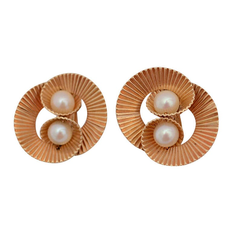 Retro Gold and Pearl Earrings For Sale