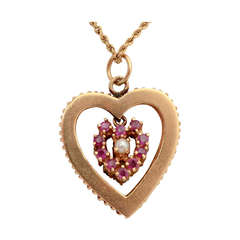 Ruby and Sapphire Heart Pendant