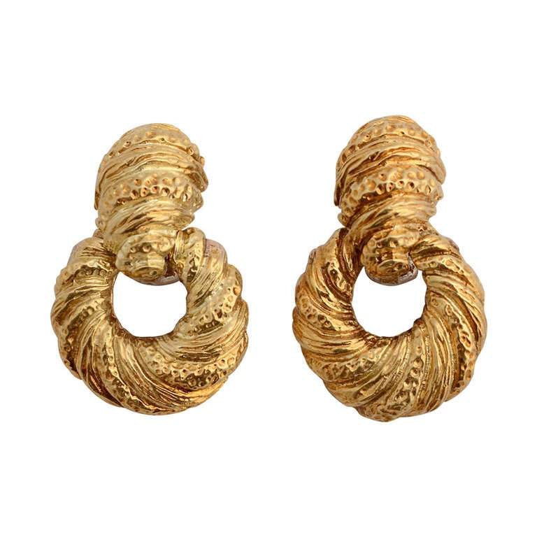 Textured Gold Doorknocker Earrings