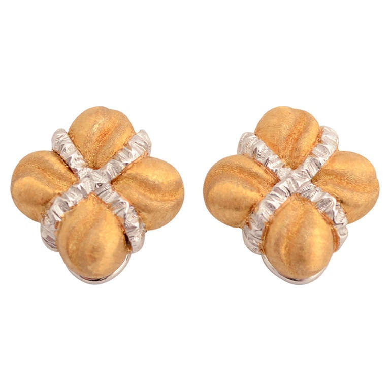 BUCCELLATI Yellow and White Gold Earrings