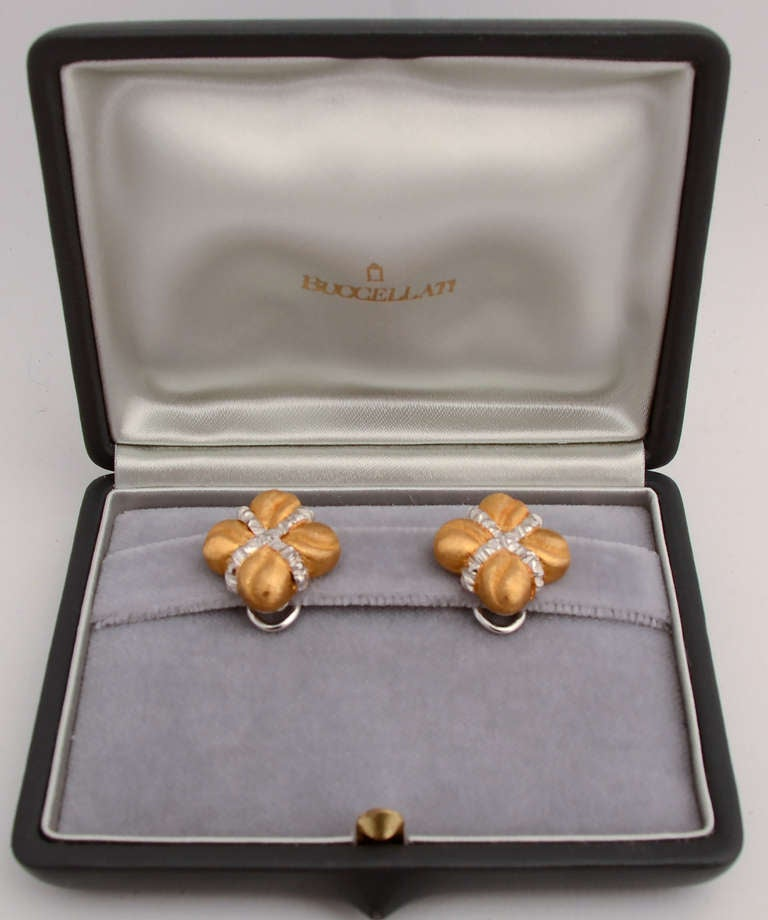 Modern BUCCELLATI Yellow and White Gold Earrings For Sale