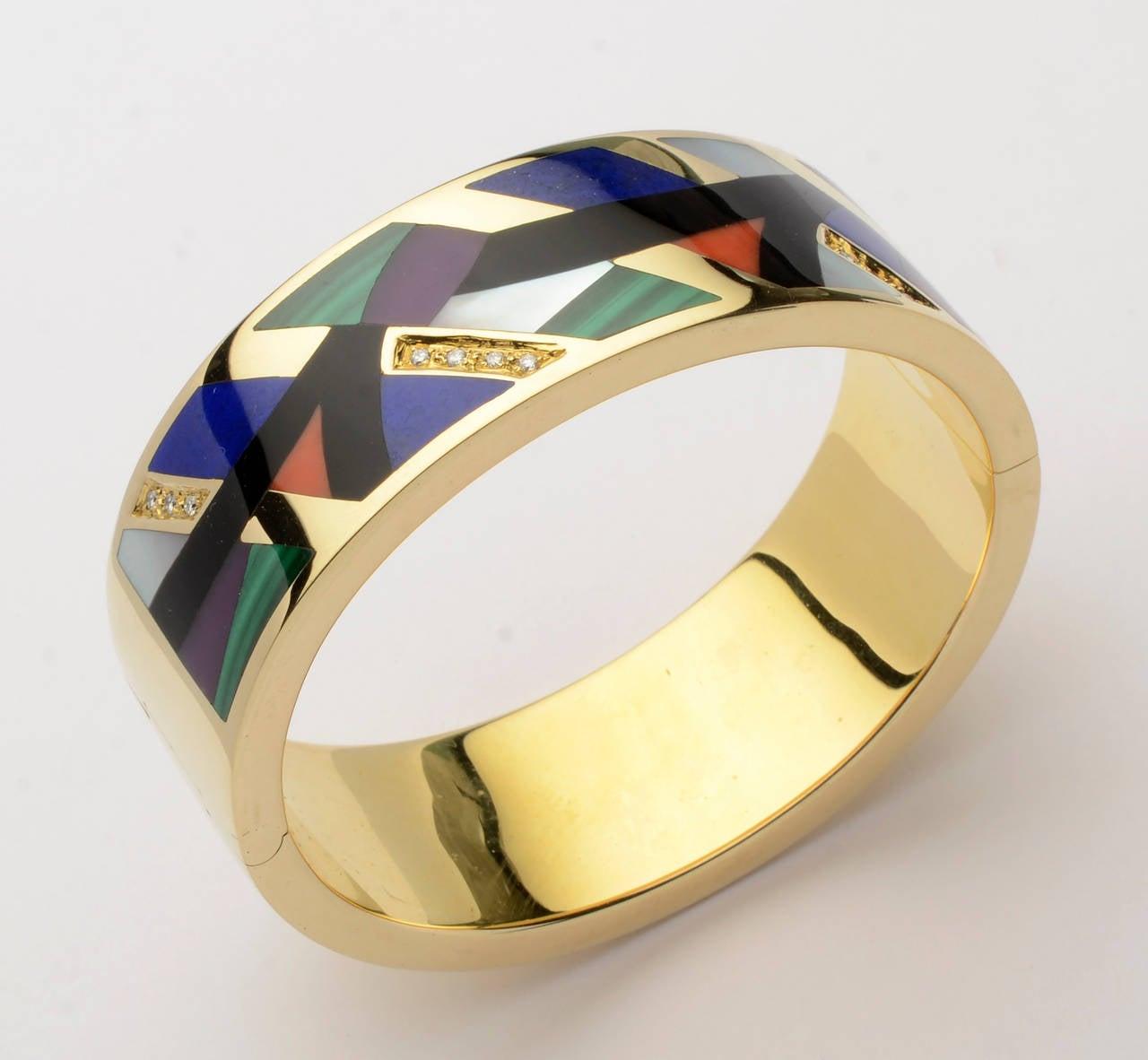 Asch Grossbardt Hinged Inlaid Gemstone Bangle Bracelet 2