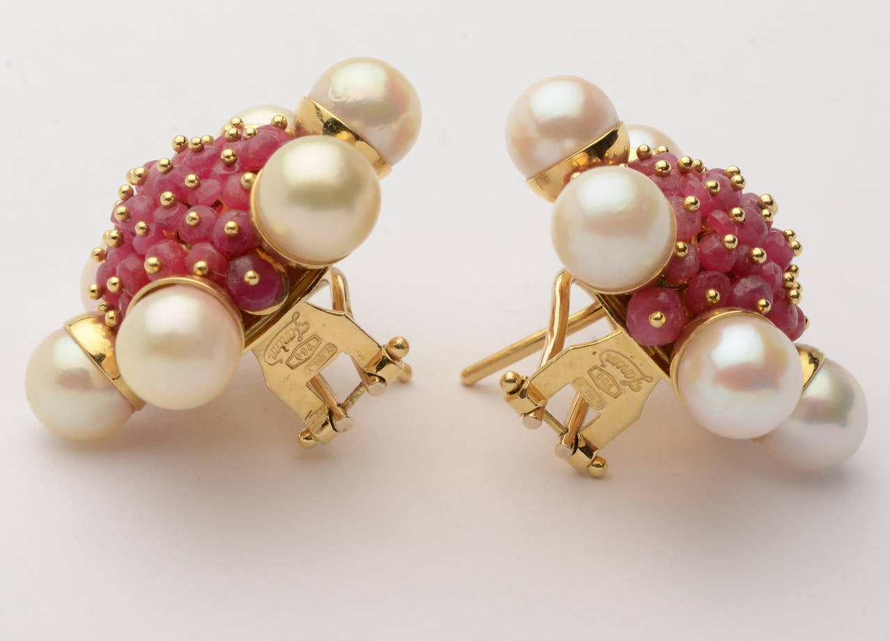 ruby pearl cluster earrings for sale at 1stdibs