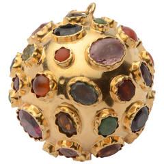 Large Gem Encrusted Gold Ball Pendant