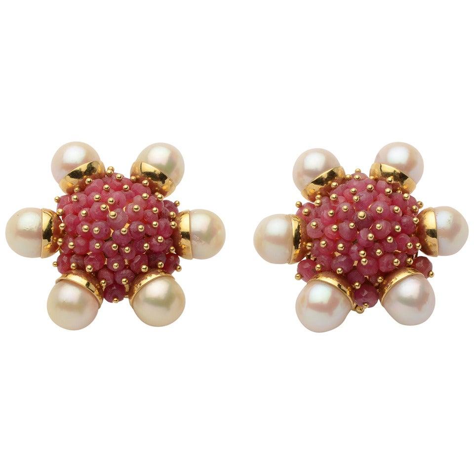 Ruby Pearl Cluster Earrings