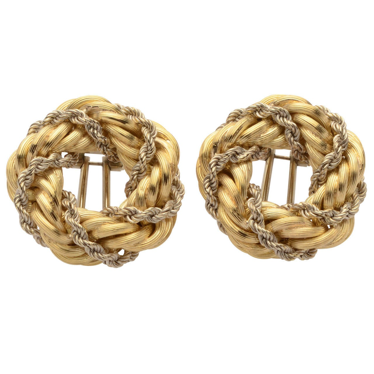 Two Color Gold Rope Twist Earrings
