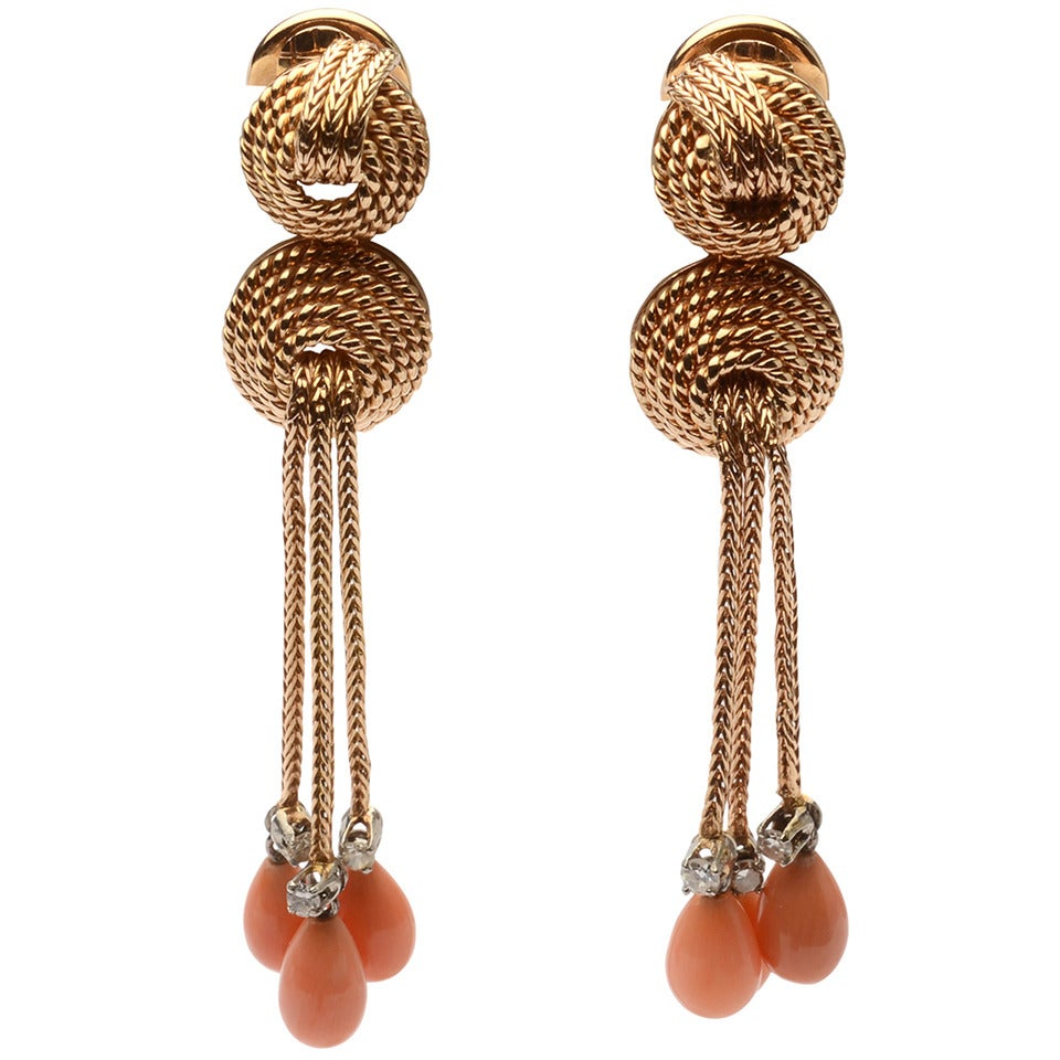 Coral Diamond Gold Dangle Earrings For Sale