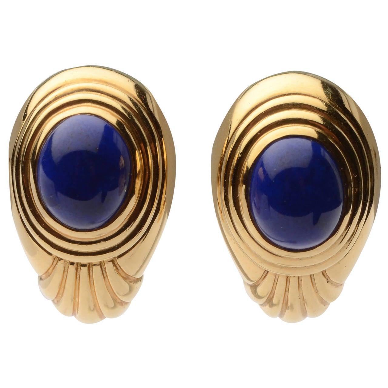 Boucheron Lapis Gold Ear Clips