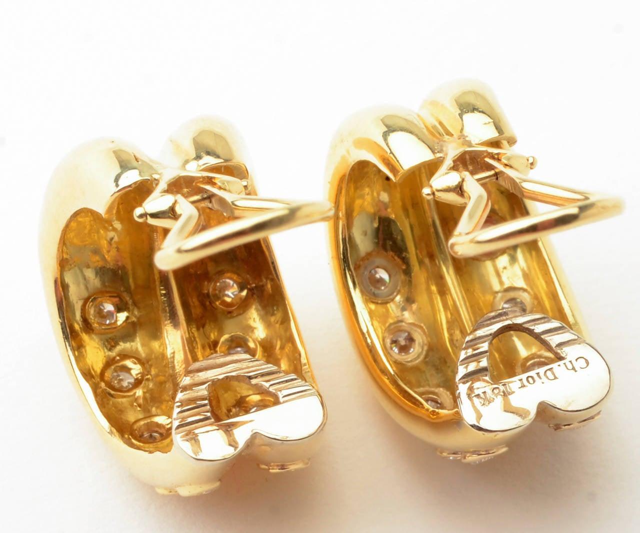 Women's Christian Dior Gold Diamond Hoop Earrings For Sale