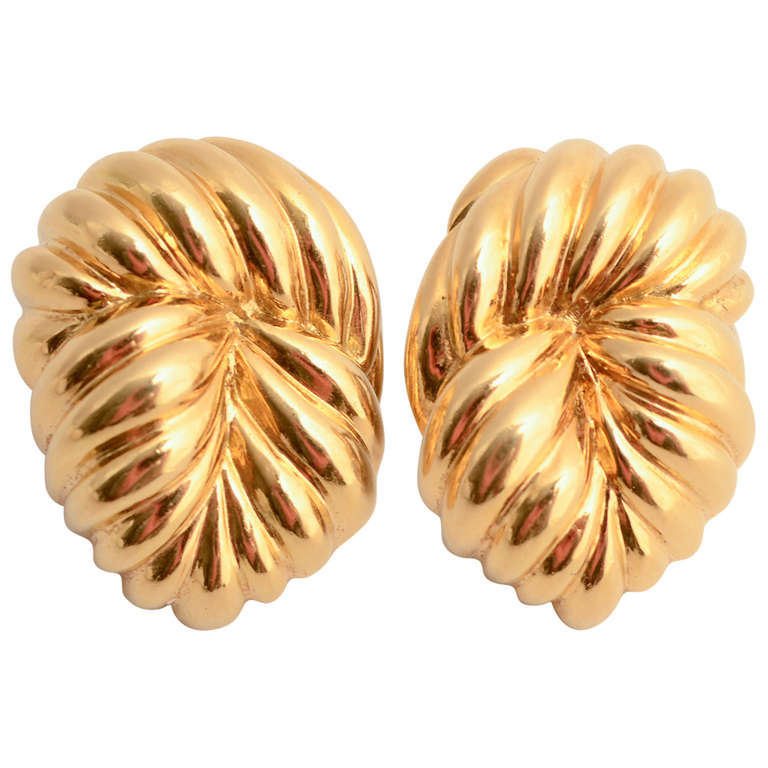 David Webb Gold Ear Clips