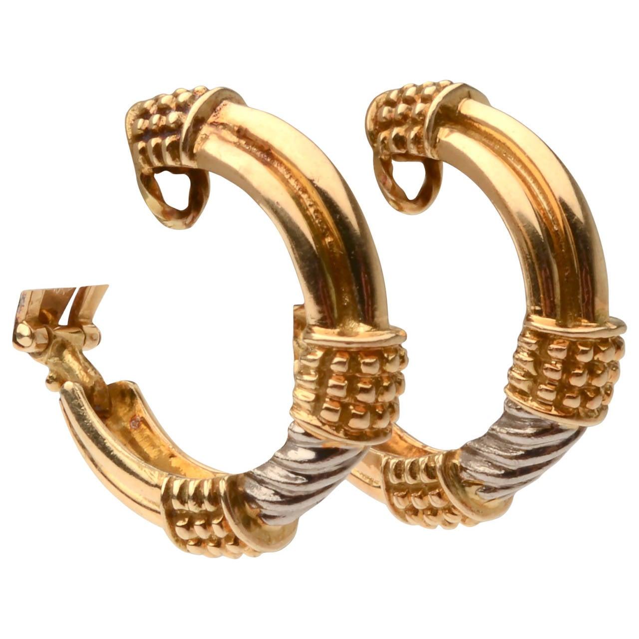 Zolotas Two color Gold Hoop Earrings