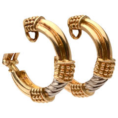 Zolotas Two color Gold Hoop Earrings