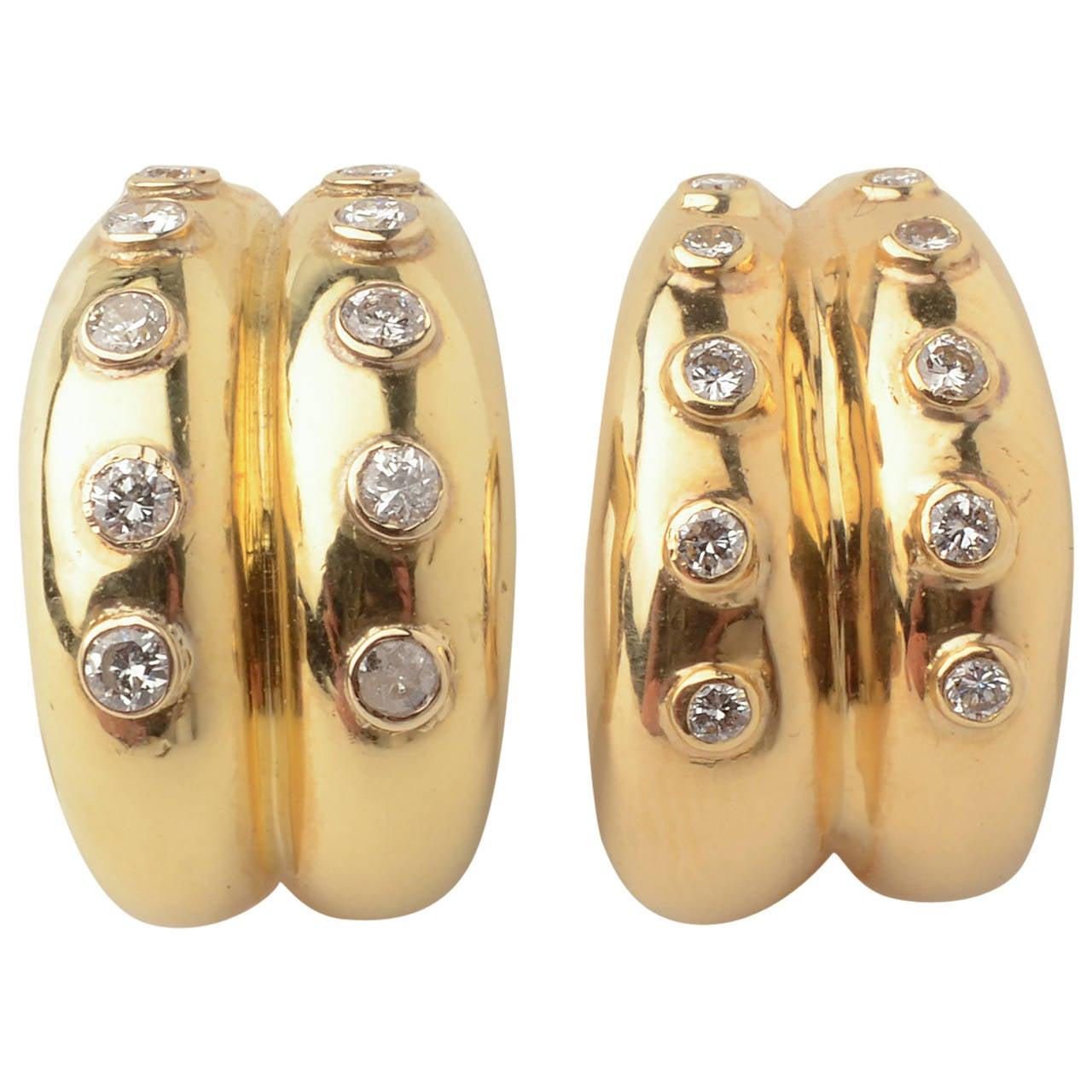Christian Dior Gold Diamond Hoop Earrings