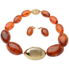 Amber Necklace and Earrings with Gold Bead