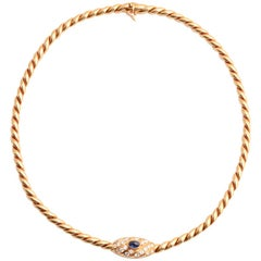 Van Cleef & Arpels Sapphire Diamond Gold Twisted Rope Choker Necklace