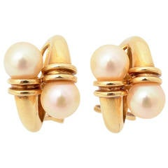 Pearl and Gold Crossover Earrings