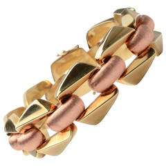 Retro Smooth and Satin Finish Two Color Gold Link Bracelet