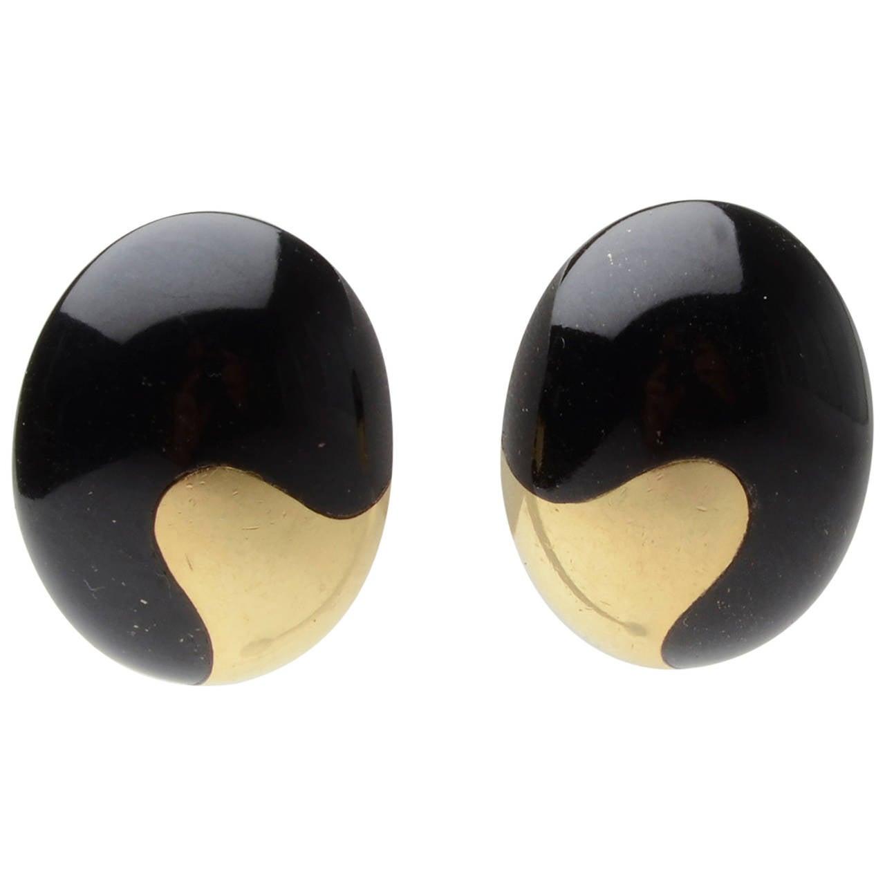 Tiffany & Co. Yin Yang Black Jade Earrings