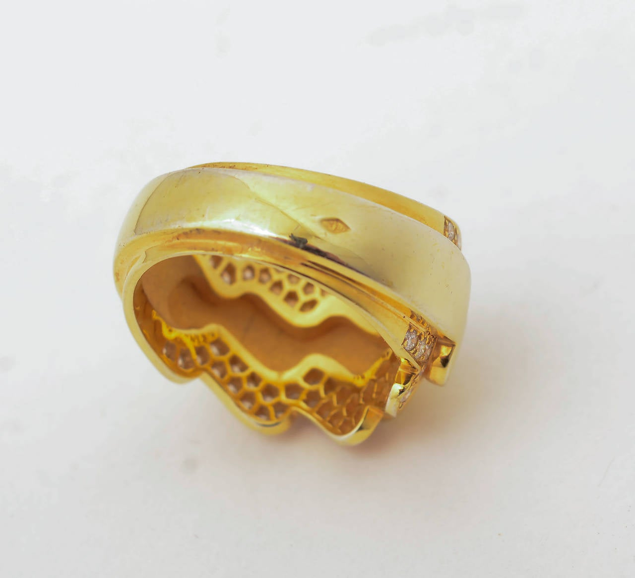 Van Cleef & Arpels Diamond Gold Band Ring In New Condition For Sale In Darnestown, MD
