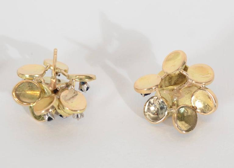 Sapphire Diamond Gold Stud Earrings In Excellent Condition For Sale In Darnestown, MD