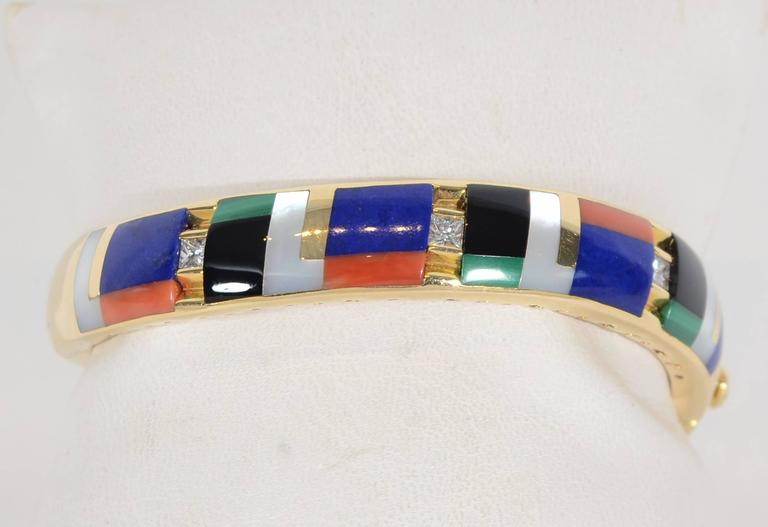 Asch Grossbardt Inlaid Stones Gold Bangle Bracelet 3