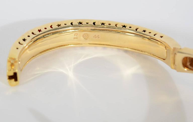 Asch Grossbardt Inlaid Stones Gold Bangle Bracelet 4
