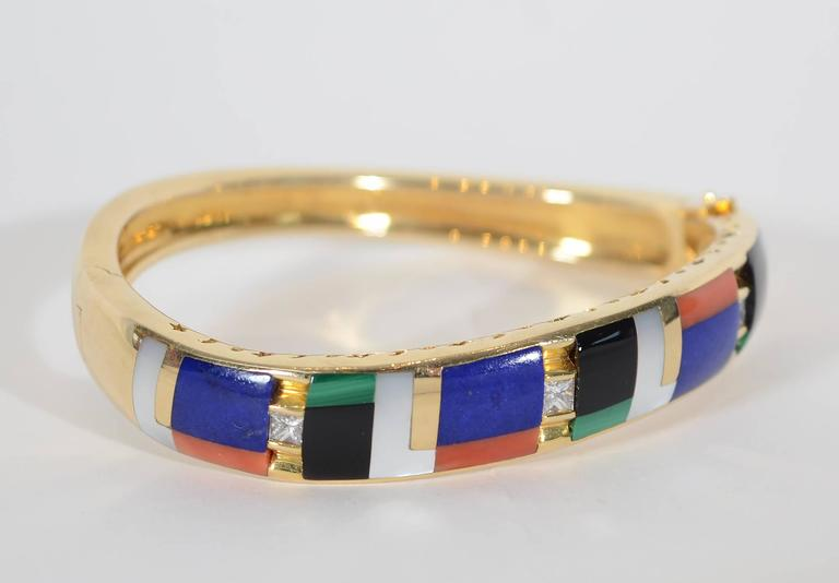 Asch Grossbardt Inlaid Stones Gold Bangle Bracelet 2