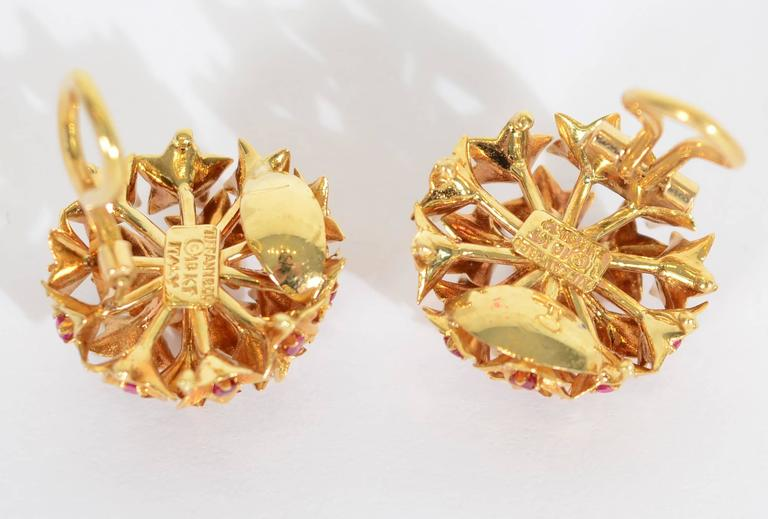 Tiffany & Co. Star Set Ruby Gold Earrings In New Condition For Sale In Darnestown, MD